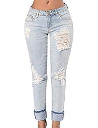 ZKOO Jeans Pantalons Femmes Déchirés Ripped Stretch Denim Pantalon Crayon  Pantalon Collants Leggings f13a1e36bd07