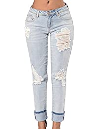 ZKOO Jeans Pantalons Femmes Déchirés Ripped Stretch Denim Pantalon Crayon Pantalon Collants Leggings