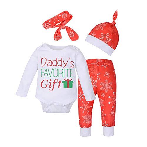 Snakell 4 STÜCK Weihnachten Kleinkind BabyBrief Drucken Strampler + Hosen + Hut + Stirnbänder Outfit einstellen WeihnachtskostüM Baby Festliche Babykleider WeihnachtskostüM Weihnachtskleid Baby (Real Santa Claus Kostüm)