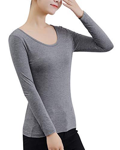 8e3a1031be4a Mujer Ropa Interior Térmica Manga Larga Caliente Slim Fit Cuello ...