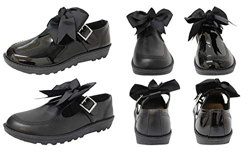 New Girls Back to School Bow Black PATENT PU Ankle Strap Mary Jane Flat Shoes -