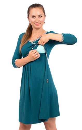Viva la Mama blaues Kleid für Schwangere Stillkleid Damen Umstandsmode Kleid festlich Mamamode – Wanda Petrolblau Streifen - 4