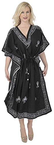 La Leela alle in 1 Damen Rayon Partei Cocktail Tunika Bikini bestickte verschleiern oben Vintage-Kleider Badebekleidung Kordel Nachthemden tiefer Ausschnitt langes Abendkleid Kaftan Frauen Schwarz 6