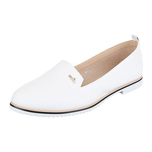 Ital-Design Slipper Damen-Schuhe Low-Top Blockabsatz Moderne Halbschuhe Weiß, Gr 40, W-98-
