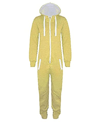 Lemon Yellow 11-12 Years - Stacy New Girls Kids Boys Hooded Exposed Zip Front Plain or Aztec Print All in One Jumpsuit