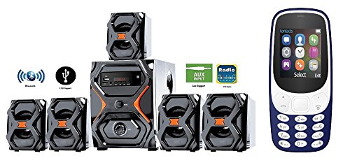 IKALL 5.1 Channel Bluetooth IK-222 Home Theater System with K3310 1.8 inch Basic Mobile Phone (Dark Blue)