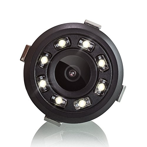 XOMAX XM-018 Universal Auto Rückfahrkamera Set mit 8 LED Leuchten für gute Nachtsicht, Einparkhilfe mit farbigen Distanz-Linien im Bild, 5m Kabel, Cinch RCA Anschluss, PAL und NTSC, Weitwinkel 170° Grad, 12V Betrieb, inkl. Bohraufsatz