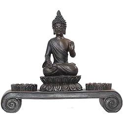 Deko–Portavelas con diseño de Buda escultura estatua Feng Shui 20cm