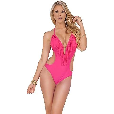 Costume da bagno donna intero capestro al collo perline frangia profondo scollo a V Top Cut out Monokini bikini