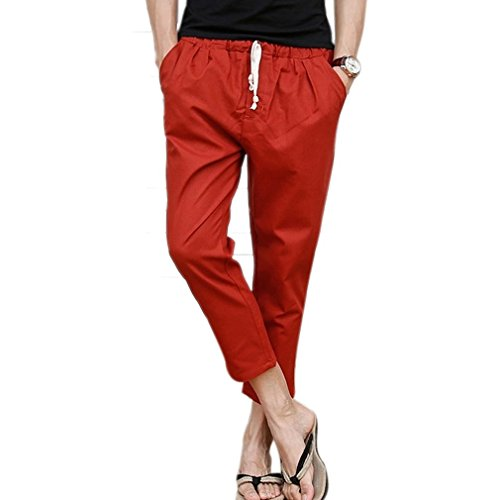 Honghu Uomo Casual Soft Vita Elastica Slim-Fit 3/4 Pantalonis Red