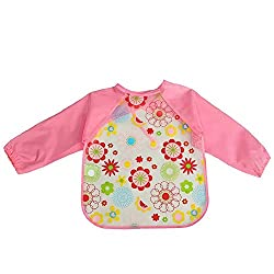 One size , 4 : Livecity Unisex Baby Waterproof Feeding Painting Art Apron Smock Long Sleeve Bib