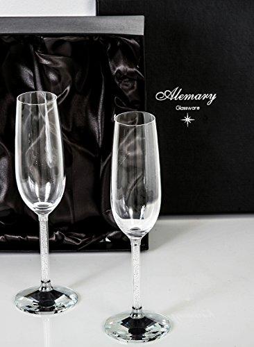 Alemary Glassware, 2er-Set Champagnerflöten, Swarovski ähnlicher Stiel aus Kristallglas, Luxus-Geschenkbox