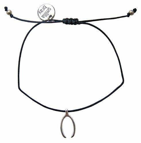Damen-Armband WISH - schwarz / silber - Wunsch-Armband mit Kärtchen DS28 (Wishbone Charm)