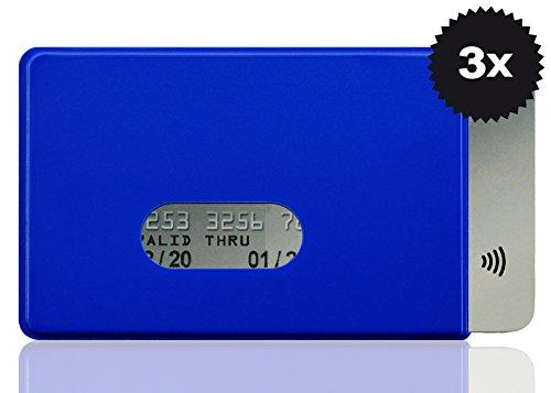 Lot de 3 étuis de protection Optexx RFID de la marque Funk Chips - Avec bloqueur RFID - Bleu - En plastique rigide - Pour carte de crédit, carte bancaire, carte d'identité