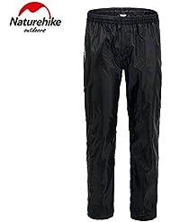 Naturehike Unisex pantalones de senderismo resistente al agua Camping lluvia pantalones de escalada al aire libre Packaway pantalones, hombre mujer, color negro, tamaño mediano