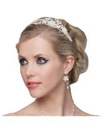 SEXYHER Herrliches Perlen und Blumen Tiara - SH-DL-C5174
