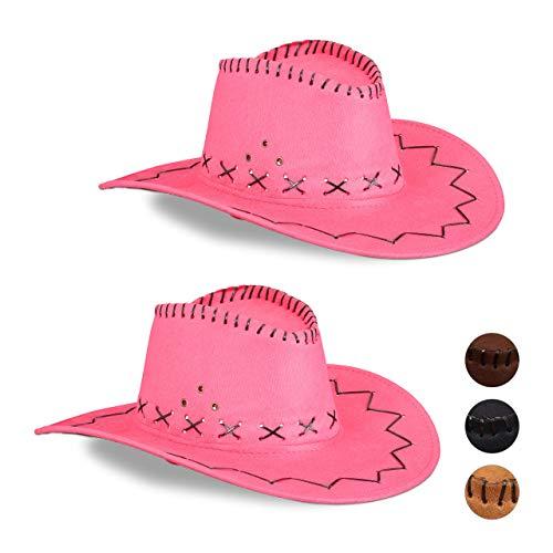 Relaxdays 2 x Cowboyhut Fasching, Westernhut, für Erwachsene, im Westernstyle, Karneval, mit Kopfband, Faschingshut, pink