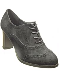 Angkorly - Zapatillas de Moda Zapato acento Botines low boots mujer perforado Talón Tacón ancho alto 7.5 CM - Negro