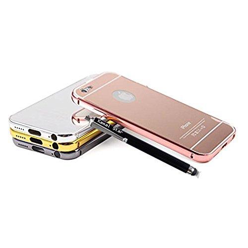 Kamal Star® Schutzhülle für iPhone, Aluminium, superdünn, verspiegelt, Metall, metall, schwarz, iPhone 6 Plus / 6S Plus rose gold