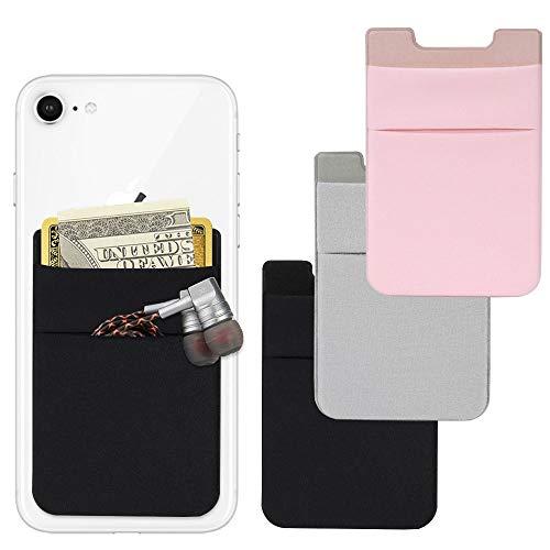 AFUNTA Handy-Kartenetui, 4 Stück, Lycra Selbstklebende Kartenhalter für Ausweis/Kreditkarten, Handyhüllen, kompatibel mit den meisten Smartphones - Schwarz/Pink/Grau
