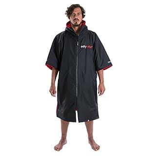 dryrobe Advance Adult Changing Robe - Short Sleeve Change Poncho/Dry Robe Large Black/Red