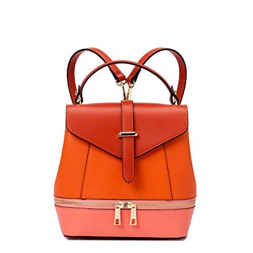 Ira del valle, zaino donna a spalla e a mano, borsa tracolla elegante ragazza in vera pelle, zainetto alla moda leggero, modello bali, made in italy (rosso-arancio)