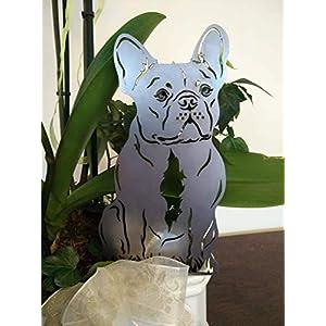 Gartenstecker Figur französische Bulldogge Höhe ca. 30 cm Metall Rost Hund