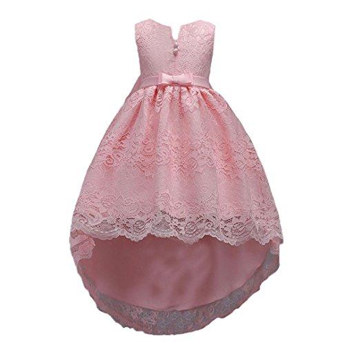 hen Spitze Bogen Zipper Tail Prinzessin Kleid Kleid Mädchen Bowknot Spitze Zip Pageant Hochzeit Prinzessin Tutu Kleid (160, rosa) (Rosa Prinzessin Kleid Erwachsene)
