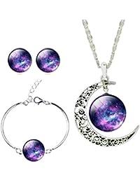 BESTOYARD Conjunto de Colgante de Collar Pulsera Pendientes de Galaxia Nebulosa Media Luna para Mujer Regalo