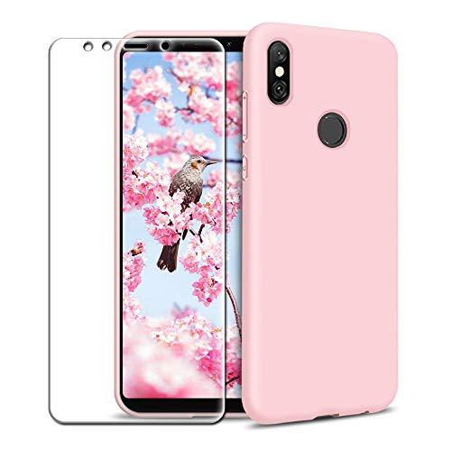 MICASE Funda Xiaomi Mi A2 + Protector de Pantalla de Vidrio Templado, Carcasa Ultra Fino Suave Flexible Silicona Colores del Caramelo Protectora Caso Anti-rasguños Back Case - Rosa Claro