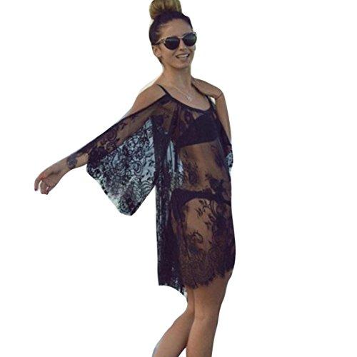 Transer ® Dentelle 1PC Femmes Sexy Vintage Hippie Boho gens brodé à manches courtes Floral Crochet Dress(S-XXL) Noir