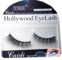 HOLLYWOOD YQE Imported 1 Pair Black Natural Thick Long False Eyelashes with Adhesive - 8805
