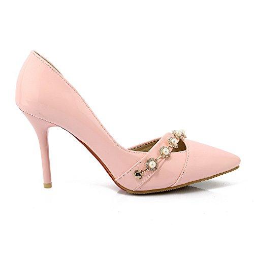 VogueZone009 Femme Pu Cuir à Talon Haut Pointu Couleur Unie Tire Chaussures Légeres Rose