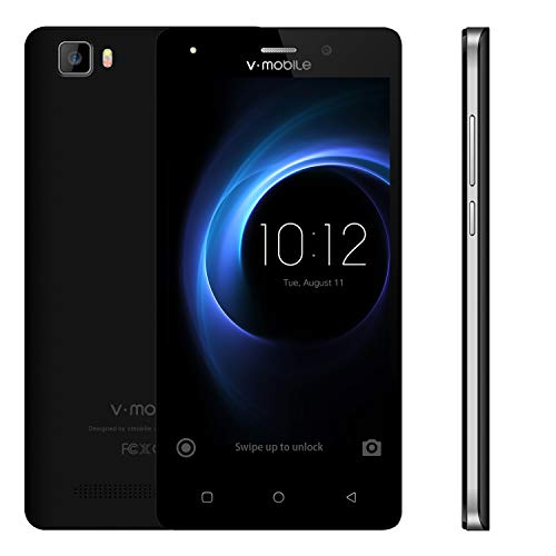 Smartphone Pas Cher 4G 5.0 Pouces HD 1280 * 720 Ecran - 5MP Arrière - 1GO RAM+8GO ROM - 2800mAh Batterie - Smartphone Dual SIM,Téléphone Portable Débloqué sans Forfait v mobile A10 (Noir)
