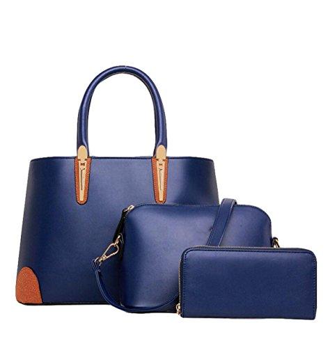 Ladies Tre Confezioni Di Borse Della Madre Borsa Messenger Portafoglio Moda Semplice Selvatico Blue