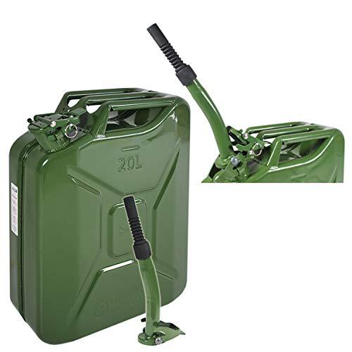 Helo Benzinkanister 20 Liter Volumen aus Metall inkl. Einfüllstutzen für Diesel, Benzin oder Gemisch, Innen Lackiert, Kraftstoffkanister inkl. Sicherungsstift, mit UN-Zulassung