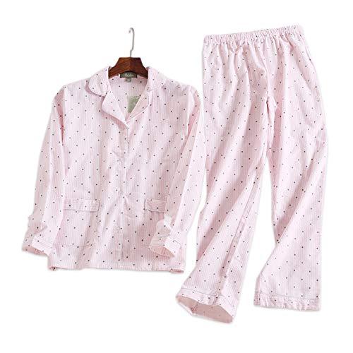 HIUGHJ Pyjamas Rosa Polka Dot süße Frauen Pyjama Sets Herbst Langarm 100% gebürstet Baumwolle gemütliche Schlafanzug Frauen Schlafanzug (Vollen Anzug Schlafanzug)