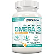 Omega 3 Triple Strength Fish Oil | 2000mg, 660 EPA 440 DHA per serving | 180 Premium Non-GMO, Gluten-Free Softgels | Made in the UK by Iron Ore Health