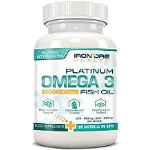 Olio di pesce Omega 3 Platinum 2000mg - 660 EPA 440 DHA per dose – Benessere per il cervello, il cuore e le articolazioni – Ingredienti della più alta qualità - 180 capsule