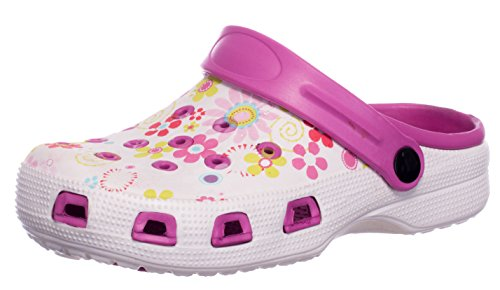 Brandsseller Damen Clogs Pantoffel Schuhe Gartenschuhe Hausschuhe - Rot/Weiß, Gelb/Weiß und Blau/Weiß mit Muster Gr. 36-41 Gemustert (39, Pink/Weiß)