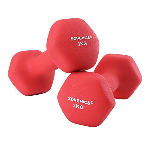 SONGMICS SYL66RD - Juego de 2 Mancuernas para Mujer, 2 x 3,0 kg, Color Rojo, 20 x 8,5 cm