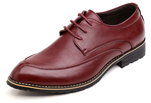 Anlarach Hommes Classique Brogue Mariage Business Cuir Pointe Toe Oxford Chaussures Rouge