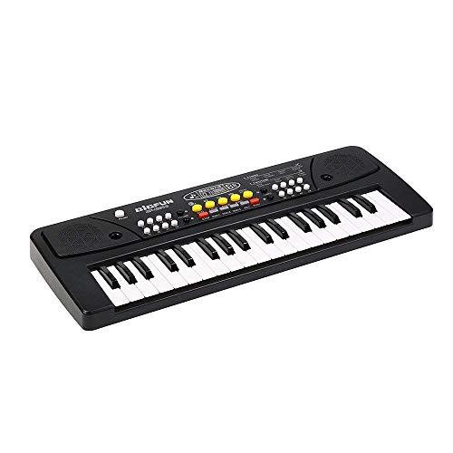 Chargable Klavier für Kinder, JINRUCHE 37 Tasten multifunktions Lade Elektronische Kinder Klaviertastatur Pädagogisches Spielzeug Orgel für Kinder mit Mikrofon (Schwarz)