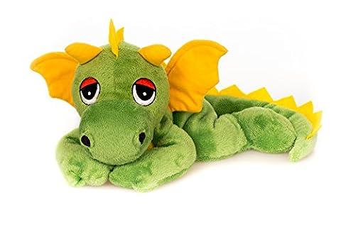 Habibi Plush Coussin chauffant en forme de dragon, jaune/vert, pour le micro-ondes