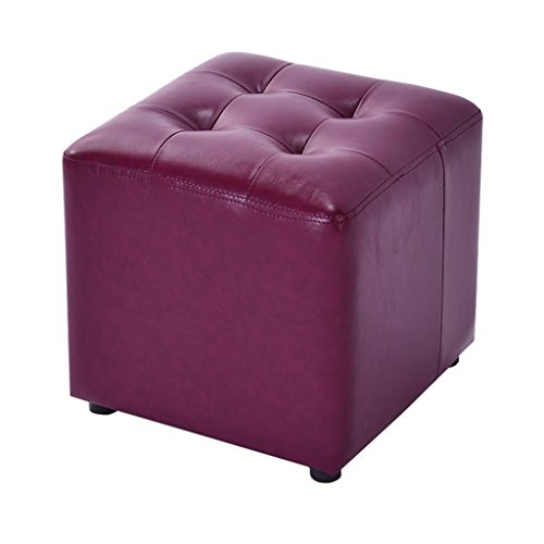 Tabouret Tabouret en cuir PU avec repose-pieds carré en bois 4 pattes Repose-pieds rembourré avec coussin de siège Changement tabouret Tabouret de maquillage Dressing Disponible en violet pour le couloir | Salon Heavy Duty Max, 150KG 36x36x33cm