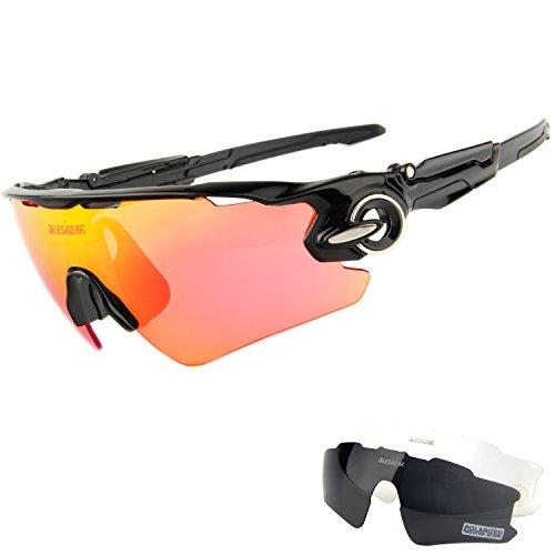 Queshark Sonnenbrille Sport für Herren und Damen, Polarisierte Fahrradbrille, Sportbrille mit 3 Wechselobjektive für das Fahren | Radfahren | Laufen | Skifahren | Angeln