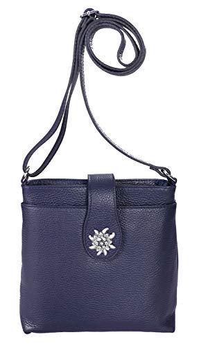 Allgäu Rebell Trachtentasche Berta aus Leder mit Edelweiß in altsilber 22cm x 20cm x 7cm