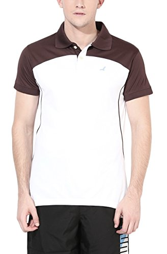 American Crew Sports Polo Collar Brown & White T-Shirt - M (AC543-M)  available at amazon for Rs.379
