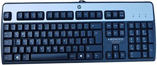 Teclado del Reino Unido (idioma español no garantizado) de HP 434820-037 PS/2 con cable en negro y plateado para Windows 8 (PS/2)