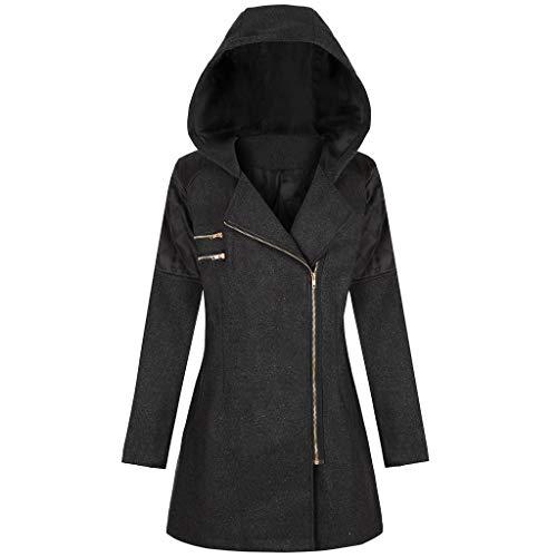 TOPKEAL Jacke Mantel Damen Langarm Reißverschluss Sweatshirt Übergangsjacke Steppjacke Kapuzenjacke Tasche Zip Hoodie Pullover Stickoberteil Wollmantel Outwear Coats (Schwarz B, L) -